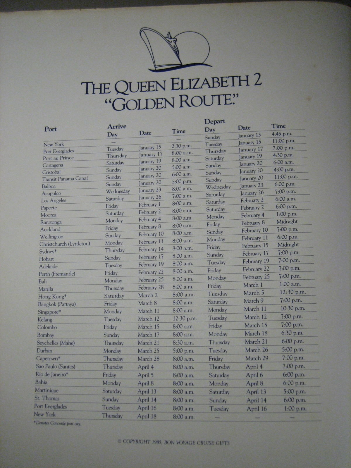 PB001 CUNARD QE2 1985 WORLD CRUISE PHOTO ALBUM