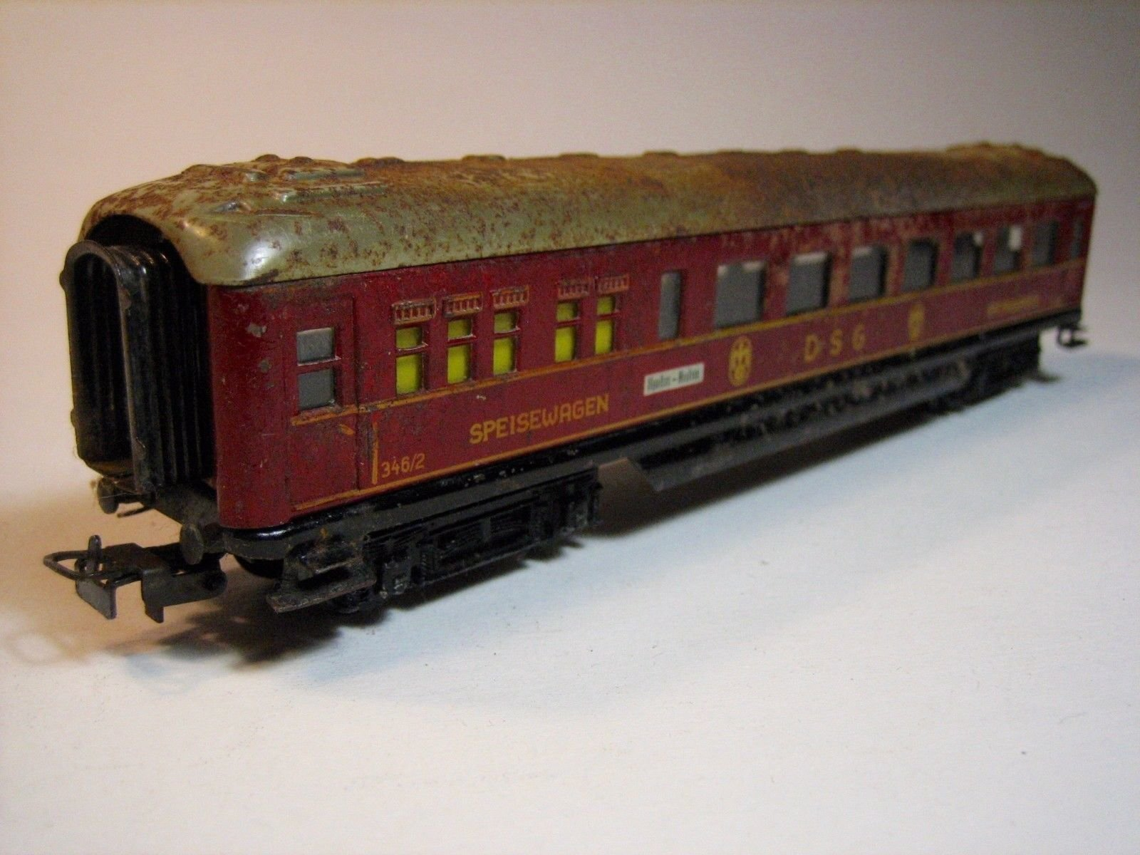 MA401 MÄRKLIN 346/2 (4008).6 (1954 ONLY) RED \'DSG\' DINING CAR