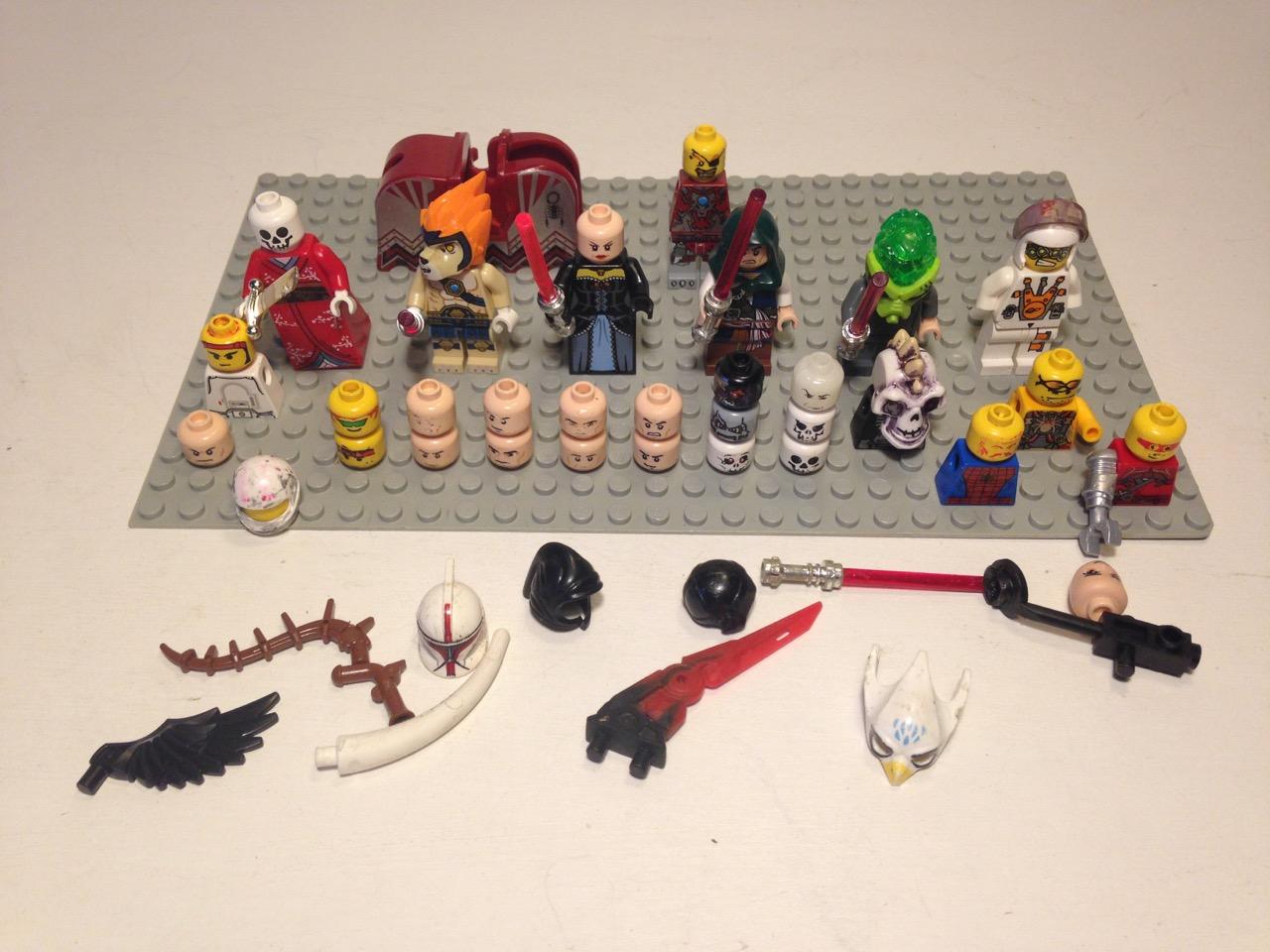 LE034 LEGO VINTAGE NINJAGO POTTER, STARWARS MINIFIG HEADS, HELMETS, ACCESSORIES